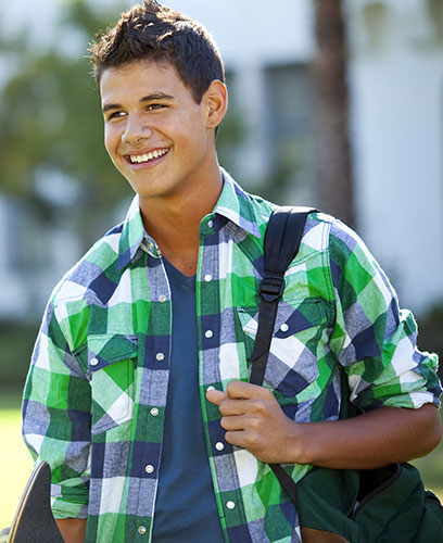 Student smileing at school